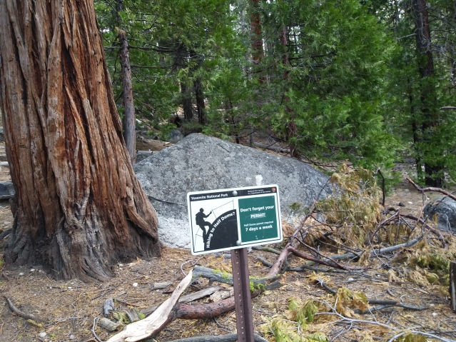 Caution signs in the park. On the trail towards Half Dome. Yosemite National Park, California.