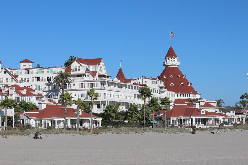 Pixabay.com. Hotel Del Coronado, map of San Diego beaches.