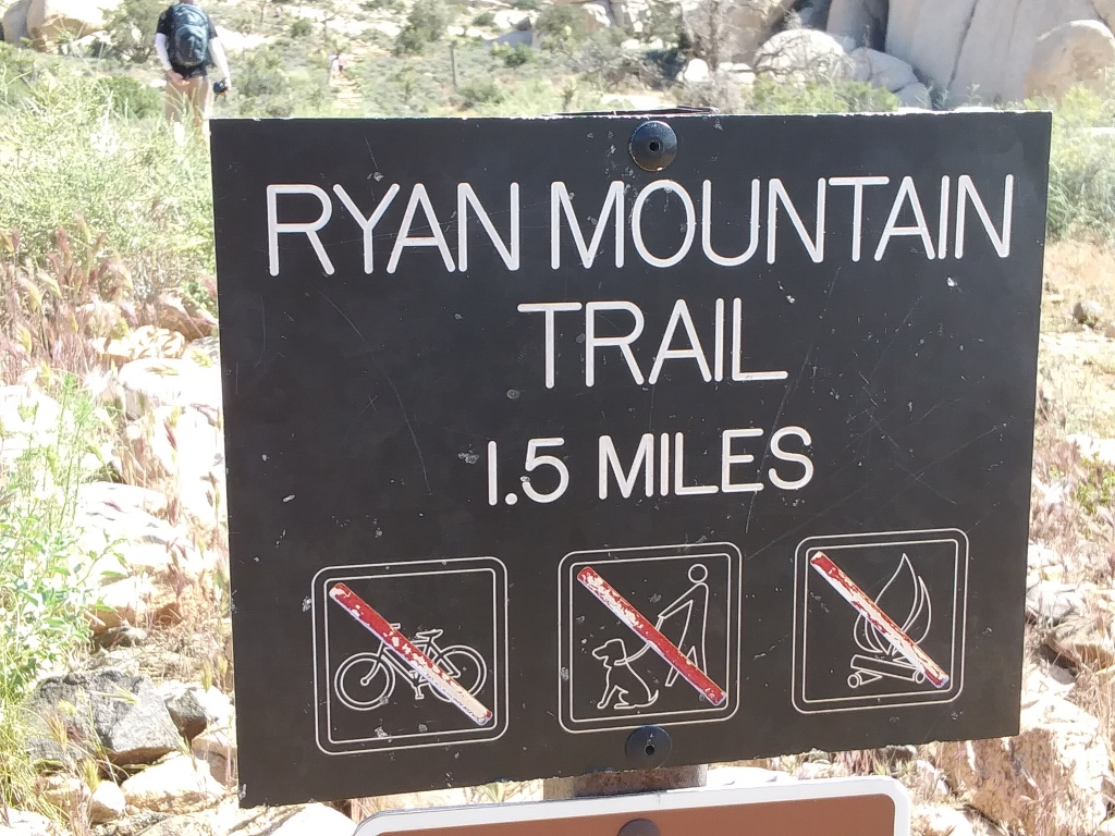 Sign at Ryan Mountain Trail