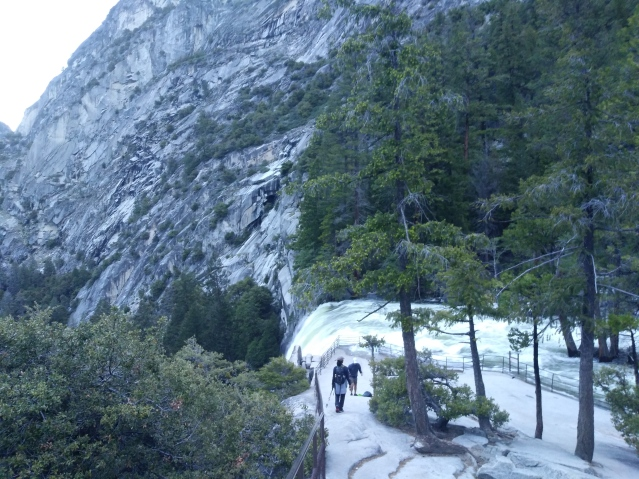 On the edge of Nevada Falls. Yosemite National Park.