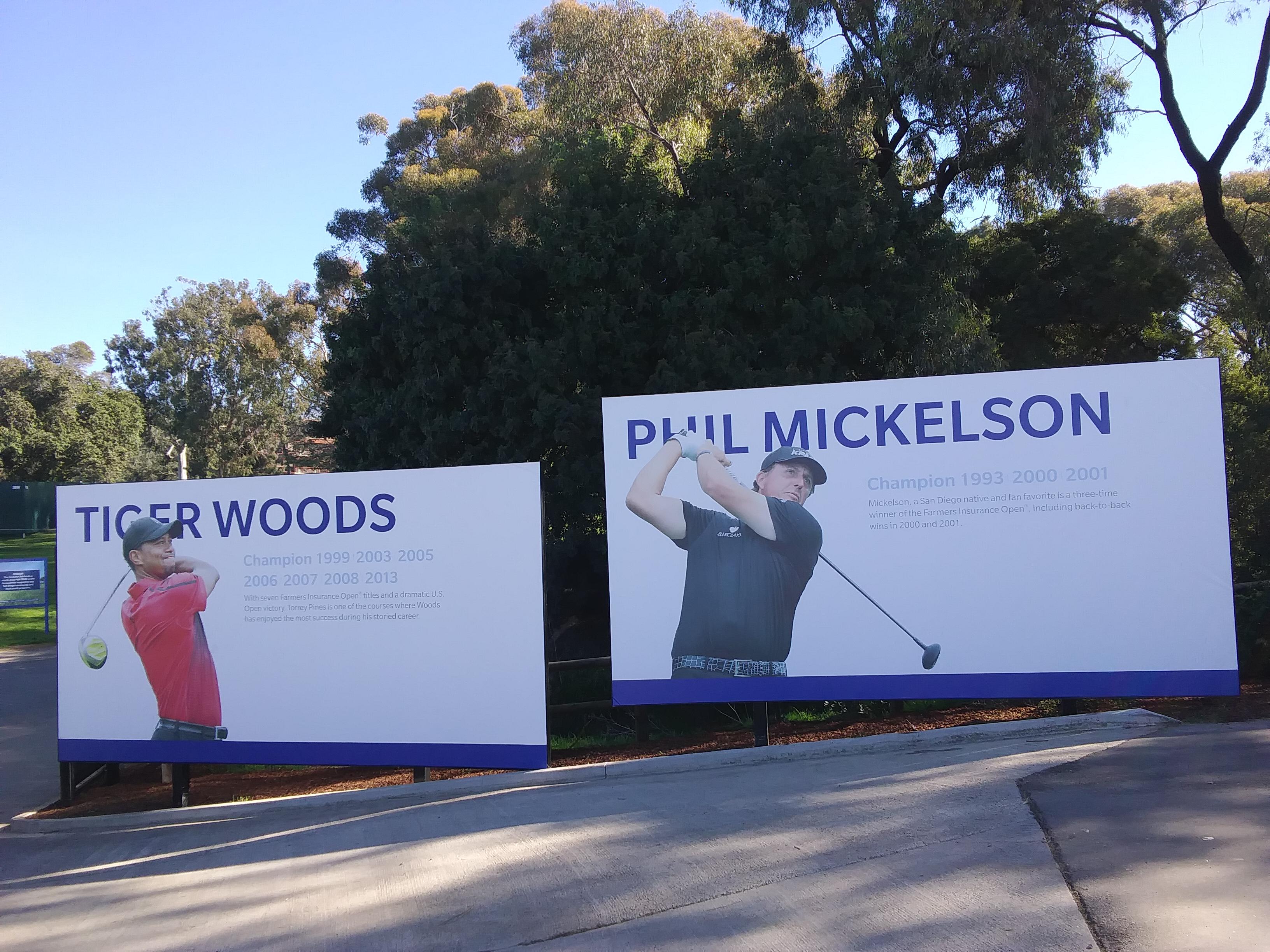 Promotional Info signs. PGA Golf Tournament. Torrey Pines, California. Fitlifeandtravel.com