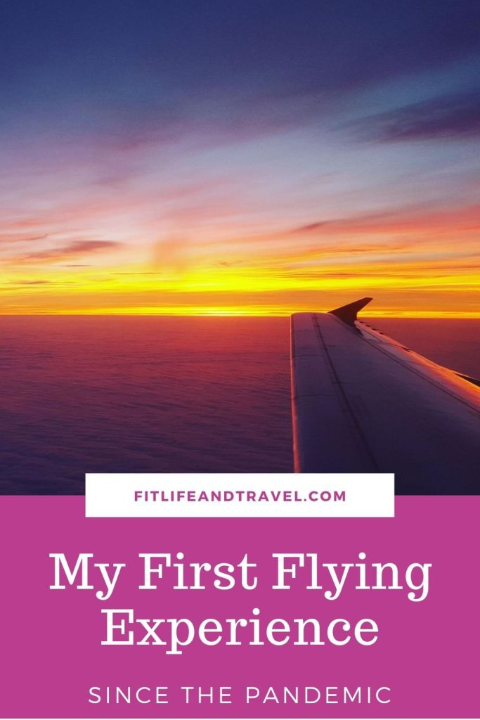 Pinterest pin. My First Flying Experience since the pandemic.