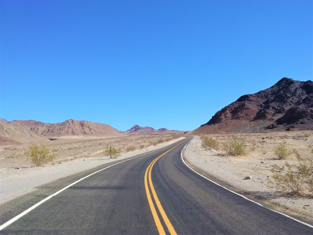 Open road in the California desert.