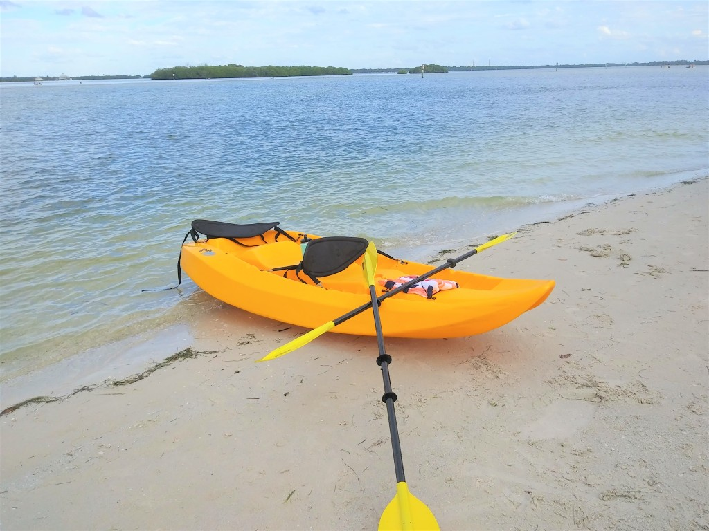 Kayaking in the Gulf towards Shell Island, FL.