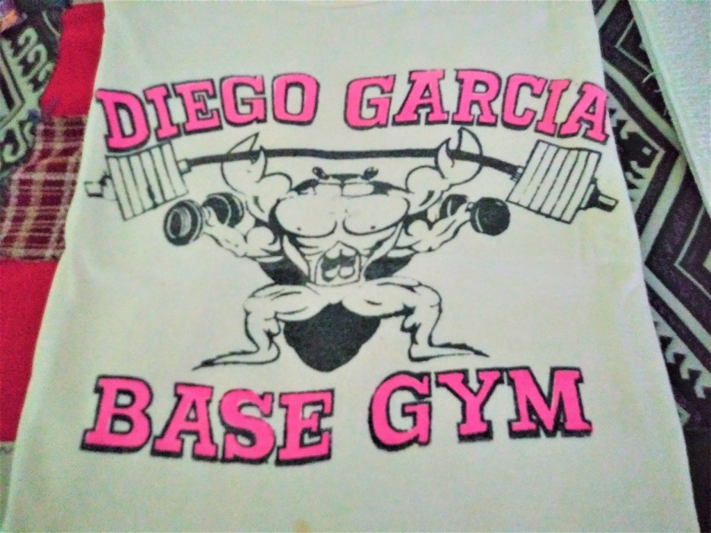 T-shirt of the Diego Garcia Base Gym. FitlifeandTravel.com
