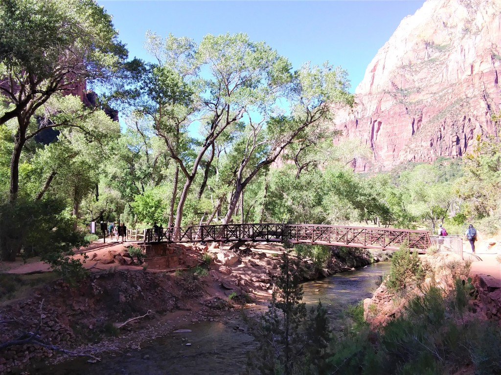 Footbridge passing over the North Fork of the Virgin River.